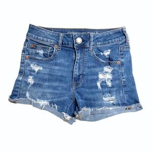AEO Distressed Ripped Hi-Rise Shortie Shorts
